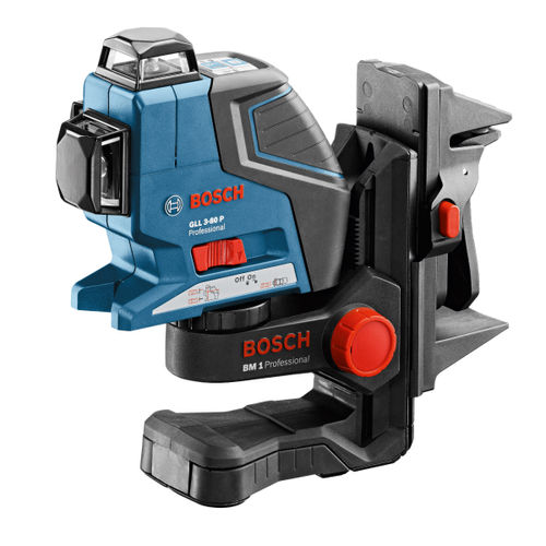 Bosch GLL3-80P 360 Degree Vertical and Horizontal Line Laser + BM 1 Wall Mount + LR 2 Receiver in L-Boxx