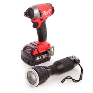 Milwaukee M18ONEPP2K-522K One Key Fuel Powerpack M18 ONEID Impact Driver + M12 MLED Torch (M12 Battery + M18 Battery)