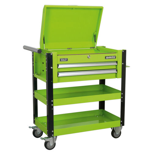 Sealey AP760MHV Heavy-Duty Mobile Tool & Parts Trolley 2 Drawers & Lockable Top (Hi-Vis Green)