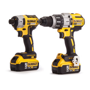Dewalt DCK276P2 Combi Drill and Impact Driver XR 18V Brushless Kit (2 x 5.0Ah Batteries) in Toughsystem Box