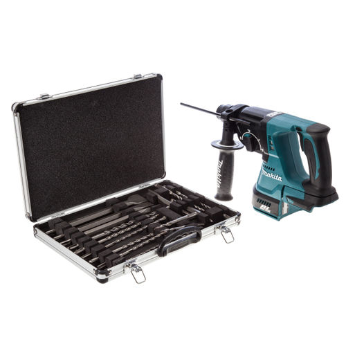 Makita DHR242Z 18V Cordless li-ion SDS+ Rotary Hammer Drill (Body Only) + 17 Piece Drill and Chisel Set