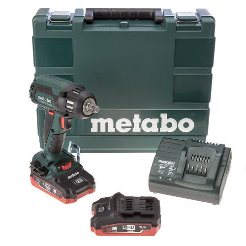 Metabo SSW 18 LTX 400 BL High Torque Impact Wrench (2 x LiHD 3.1Ah Batteries)