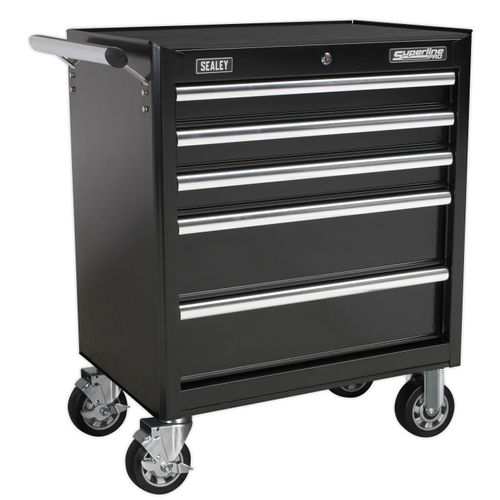 Sealey AP33459B Rollcab 5 Drawer With Ball Bearing Runners - Black