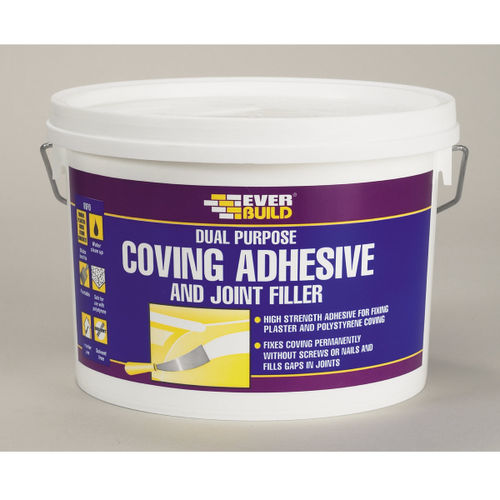 Everbuild COVE1 White Coving Adhesive & Joint Filler 1 Litre Tub (Pack of 12)