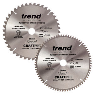 Trend 260mm Sawblade Twin Pack 42T and 72T