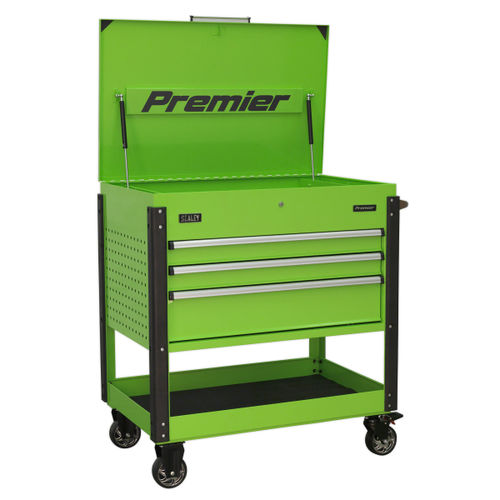 Sealey AP3MHV Tool Trolley 3 Drawer Heavy-Duty (Hi-Vis Green)