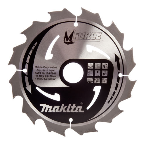 Makita B-07967 M Force Circular Saw Blade Course Cut for Wood 190mm x 30mm x 12T