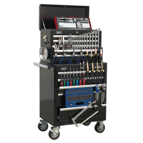 Sealey APCOMBOBBTK56 Topchest & Rollcab Combination 10 Drawer With Ball Bearing Runners - Black With 147pc Tool Kit