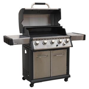 Sealey BBQ12 Gas BBQ Stainless Steel 5 Burner + Side Burner