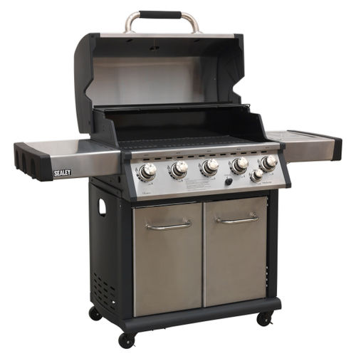 Sealey BBQ12 Gas BBQ Stainless Steel 5 Burner + Side Burner