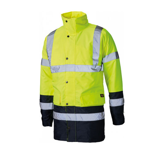 Dickies SA7004 Hi-Vis Two Tone Parka Yellow/Navy Large