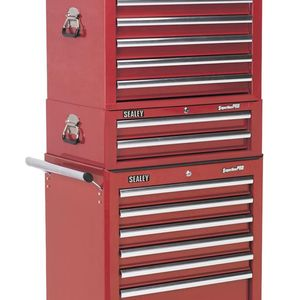 Sealey SPTCOMBO1 Tool Chest Combination 14 Drawer - Ball Bearing Runners - Red With 1179pc Tool Kit