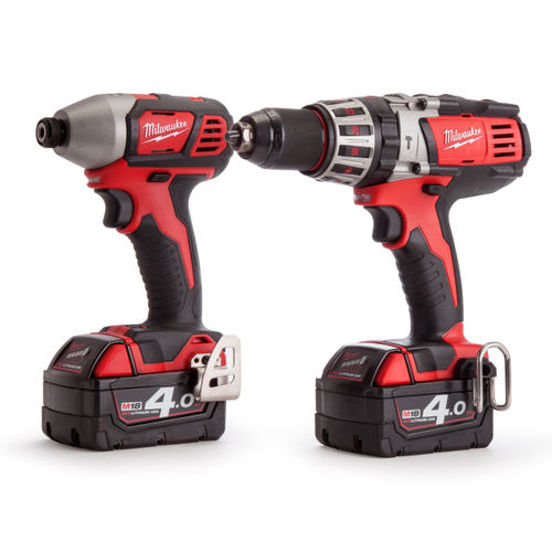 Milwaukee M18 Twinpack - HD18PD Combi Drill - M18BID Impact Driver (2 x 4.0Ah Batteries)