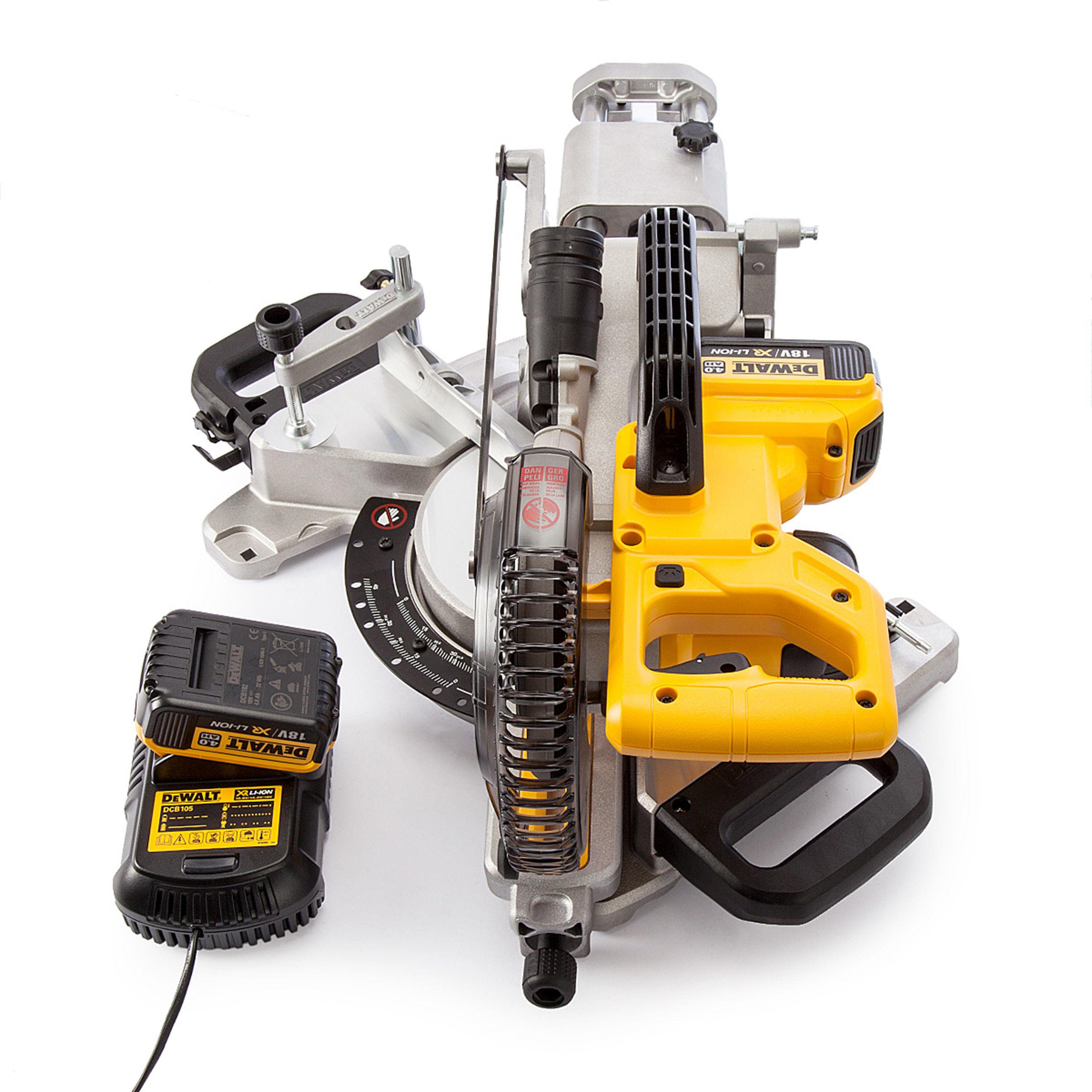 toolstop dewalt dcs365m2 mitre saw 18v cordless 184mm 2 x 4ah batteries. Black Bedroom Furniture Sets. Home Design Ideas