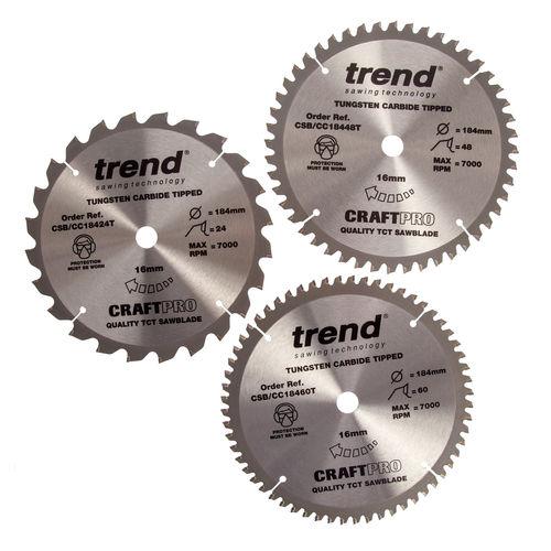 Trend Cordless Blade Triplepack Crosscut 184 x 16mm - 24T, 48T, 60T