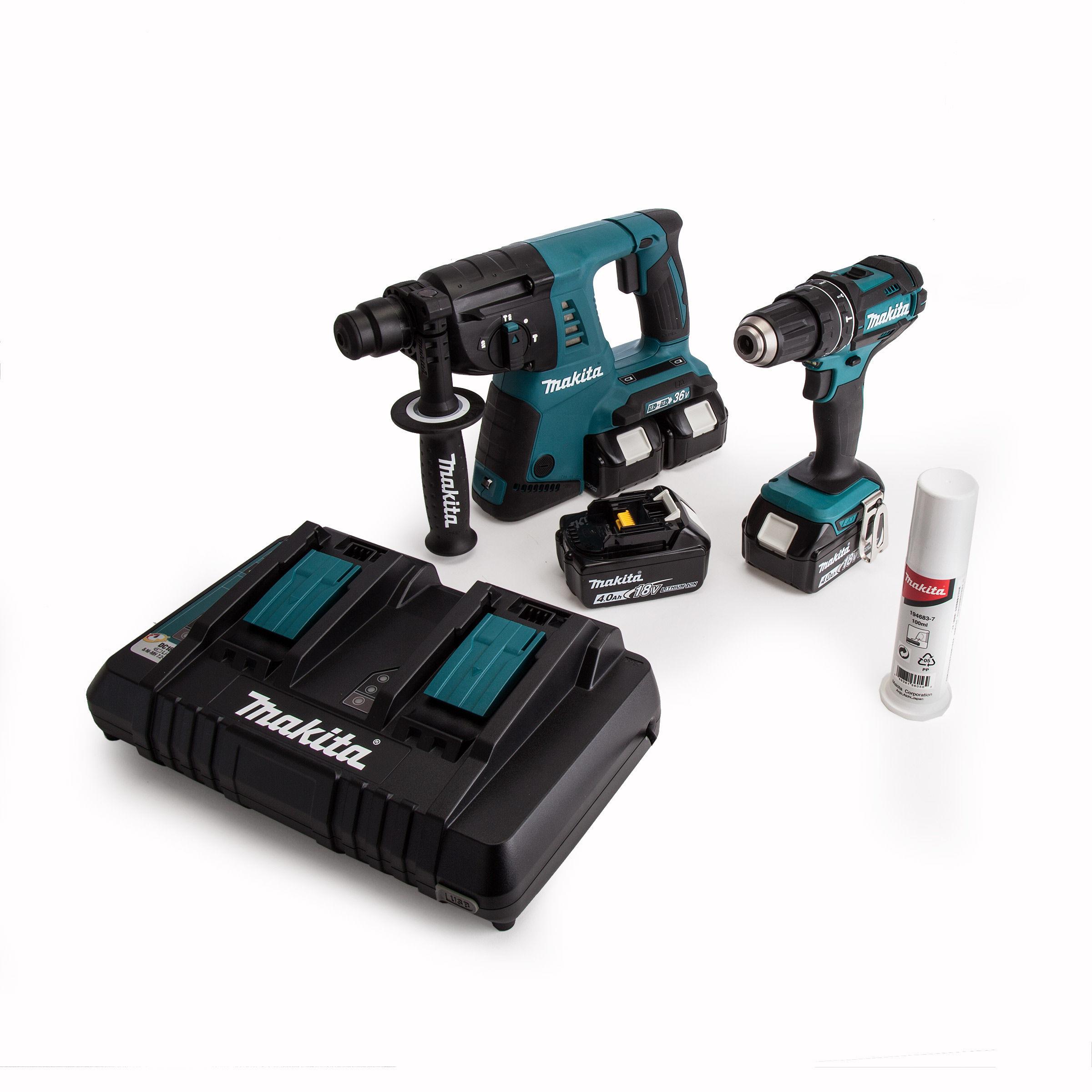 Makita DLX2137PMJ 2 Piece Cordless Kit 18V/36V DHP482 + DHR263 + 4 x 4Ah  Batteries Twin Charger