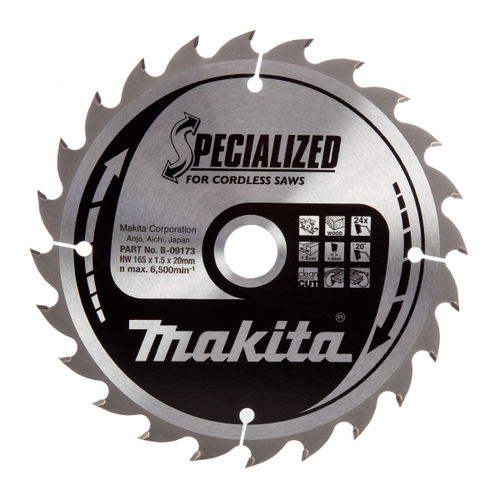 Makita B-09173 Specialized Circular Saw Blade for Cordless Saws 165 x 20 x 24 Tooth