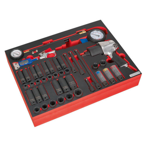 Sealey TBTP08 Tool Tray With Impact Wrench, Sockets & Tyre Tool Set 42pc