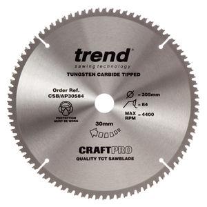 Trend CSB/AP30584 CraftPro Saw Blade Aluminium and Plastic 305mm x 84 Teeth x 30mm