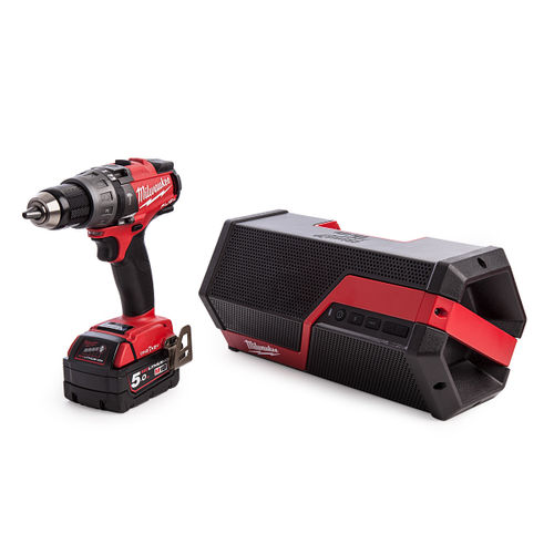 Milwaukee M18ONEPP2I-502B One Key Percussion Drill and Jobsite Speaker Kit (2 x 5.0Ah Batteries)