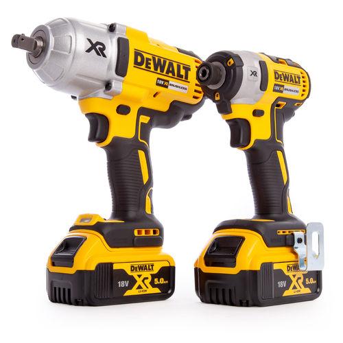 Dewalt DCK2088P2T 18V XR Twin Pack - DCF899 Impact Wrench + DCF887 Impact Driver (2 x 5.0Ah Batteries)