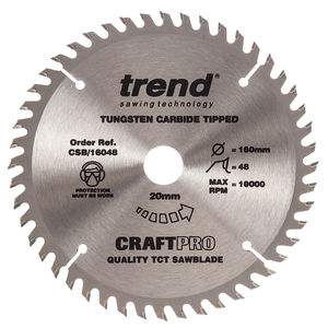 Trend CSB/16048 CraftPro Saw Blade 160mm x 48 Teeth x 20mm