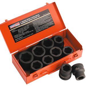 """Sealey AK688 Impact Socket Set 10pc 1""""sq Drive Metric/imperial"""