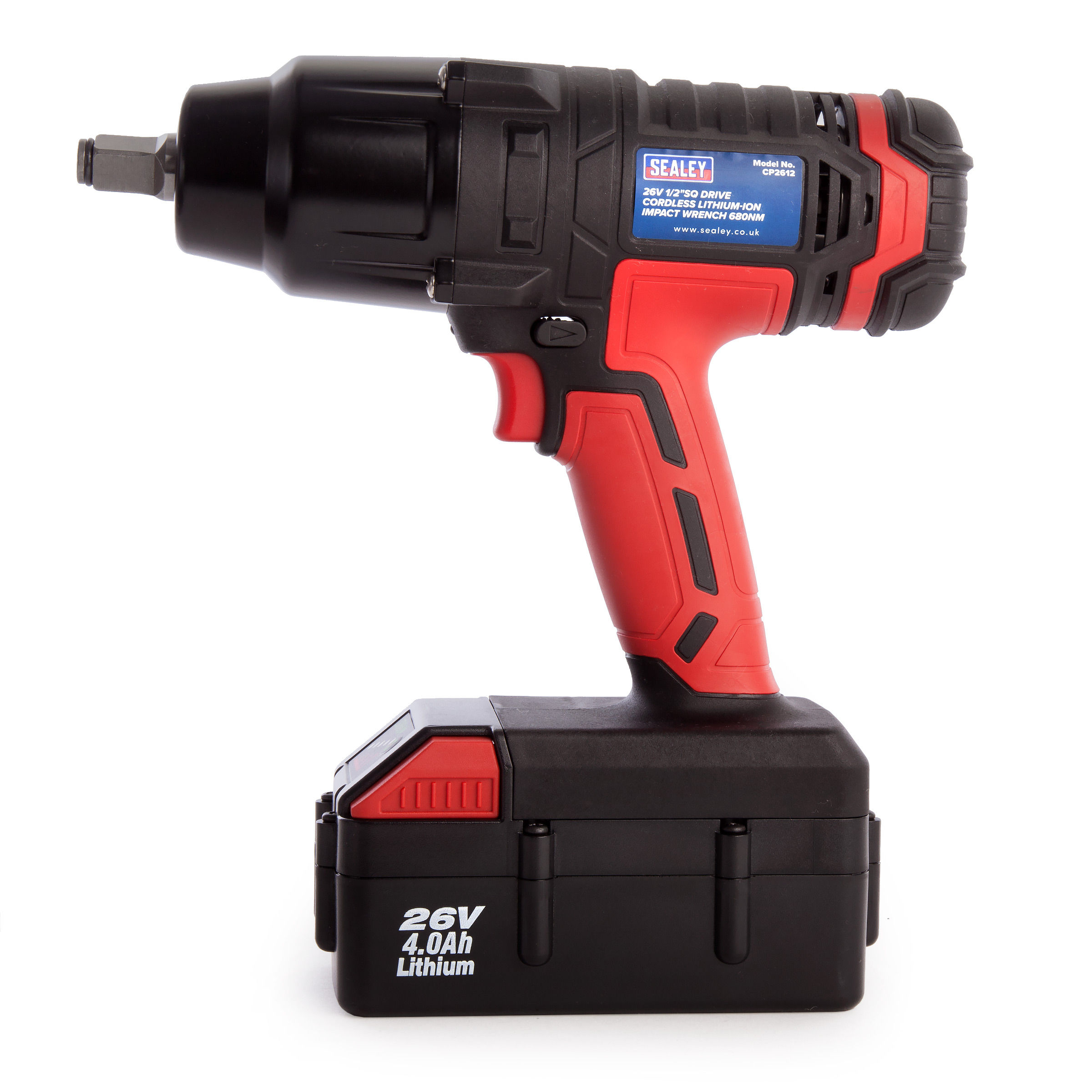 Sealey Cp2612 Cordless 26v Impact Wrench 680nm 1 2 Inch Drive X 4 0