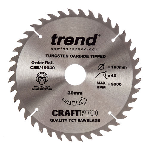 Trend CSB/19040 CraftPro Saw Blade 190mm x 30mm x 40T