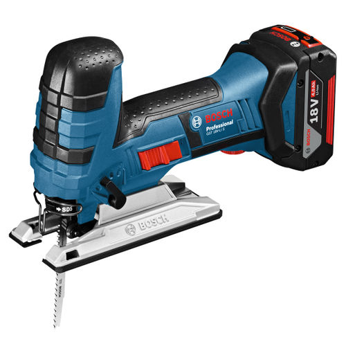 Bosch GST18VLIS 18V Cordless Bow Handle Jigsaw with 25 x Jigsaw Blades (2 x 4Ah Batteries)