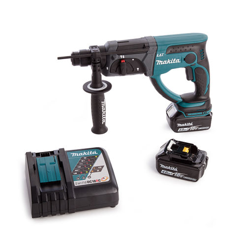 Makita DHR202Z Rotary Hammer With DC18RC Charger and Medium Toolbag (2 x 4.0Ah Batteries)