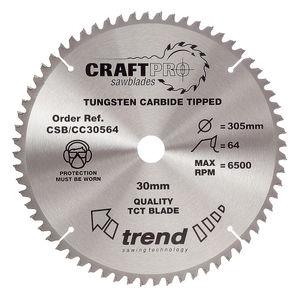 Trend CSB/CC30564 CraftPro Saw Blade Crosscut 305mm x 64 Teeth x 30mm