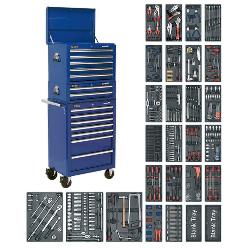 Sealey SPTCCOMBO1 Tool Chest Combination 14 Drawer With Ball Bearing Runners - Blue & 1179pc Tool Kit