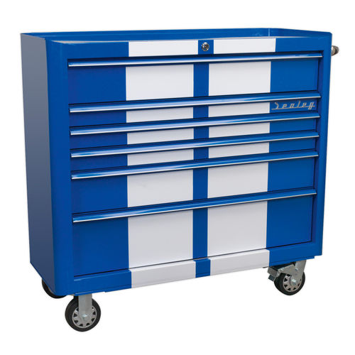 Sealey AP41206BWS Rollcab 6 Drawer Wide Retro Style - Blue With White Stripes
