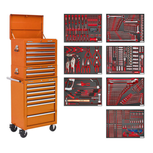 Sealey TBTPCOMBO4 Tool Chest Combination 14 Drawer With Ball Bearing Runners - Orange & 446pc Tool Kit
