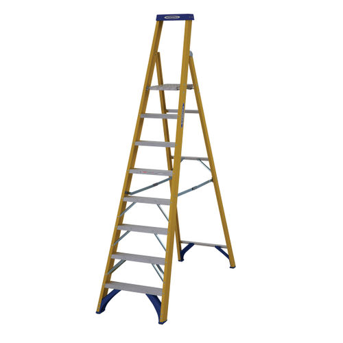 Werner 71708 Fibreglass Platform Stepladder Trade 8 Tread (1.88m)