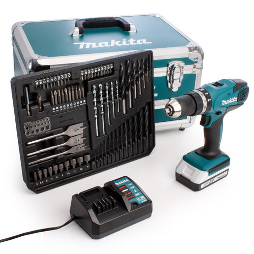 Makita HP457DWX4 G-Series 18V Combi Drill in Case with 70 Accessories (1 x 1.5Ah Battery)