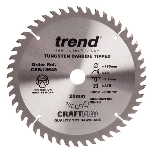 Trend CSB/18548 CraftPro Saw Blade Trimming / Crosscut 185mm x 48 Teeth