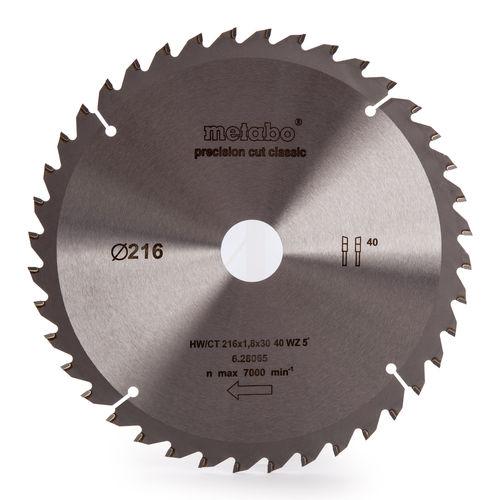 Metabo 628065000 Circular Saw Blade HW/CT 216mm x 30mm x 40 Tooth for KGS18LTX216