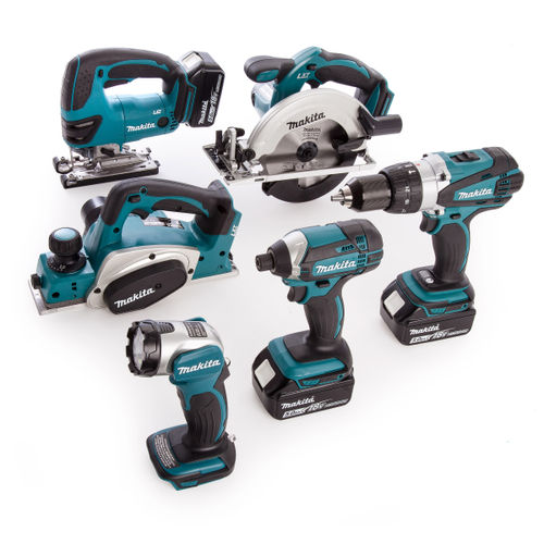 Makita DLX6067PT 18V li-ion 6 Piece Cordless Kit (3 x 5.0Ah Batteries) with Twin Charger