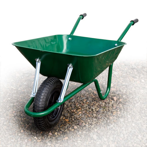 Barrow-in-a-Box BEASGP Heavy Duty Builders Wheelbarrow Easi-Load Pneumatic Tyre Green 85 Litre