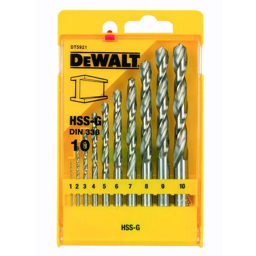 Dewalt DT5921 HSS-G DIN 338 Jobber Metal Drill Bit Set (10 Piece)