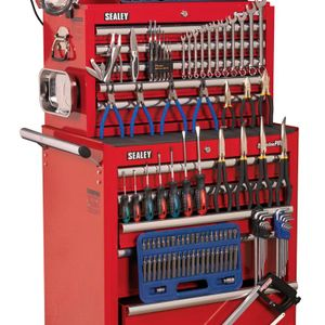 Sealey APCOMBOBBTK55 Topchest & Rollcab Combination 10 Drawer With Ball Bearing Runners - Red & 147pc Tool Kit