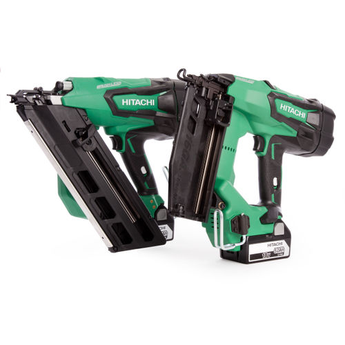 Hitachi KTN218S/JJ Cordless 18V Brushless Nailer Twin Pack (2 x 5.0Ah Batteries)