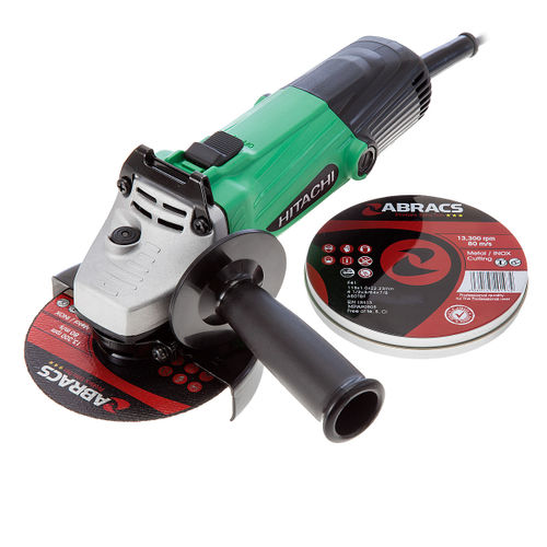"Hitachi G12SS 115mm 4-1/2"" Angle Grinder 110V with 10 Abracs Cutting Discs"