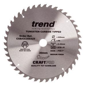 Trend CSB/CC30542T CraftPro Saw Blade Crosscut 305mm x 42 Teeth x 30mm
