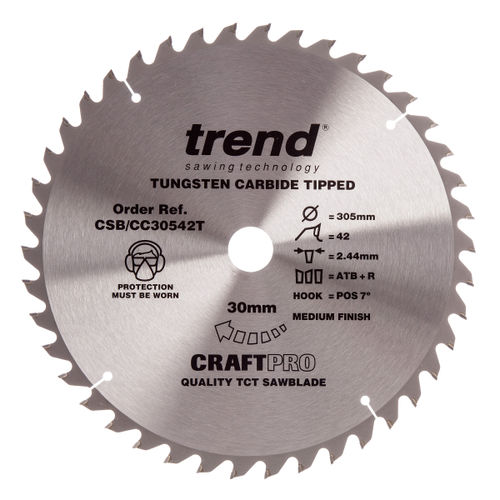 Trend CSB/CC30542T CraftPro Saw Blade Crosscut 305mm x 42 Teeth x 30mm