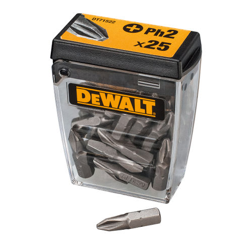 Dewalt DT71522-QZ Screwdriving Bits Ph2 (Pack of 25 in Tic Tac Box) 25mm Length