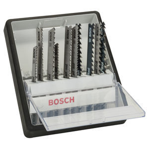 Bosch 2607010540 Robust Line Wood Jigsaw Blade Set - Single Lug Shank (10 Piece)
