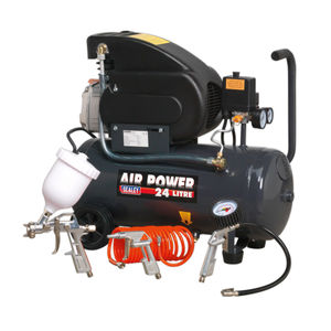 Sealey SAC2420EPK Compressor 24 Litre Direct Drive 2HP with 4 Piece Air Accessory Kit